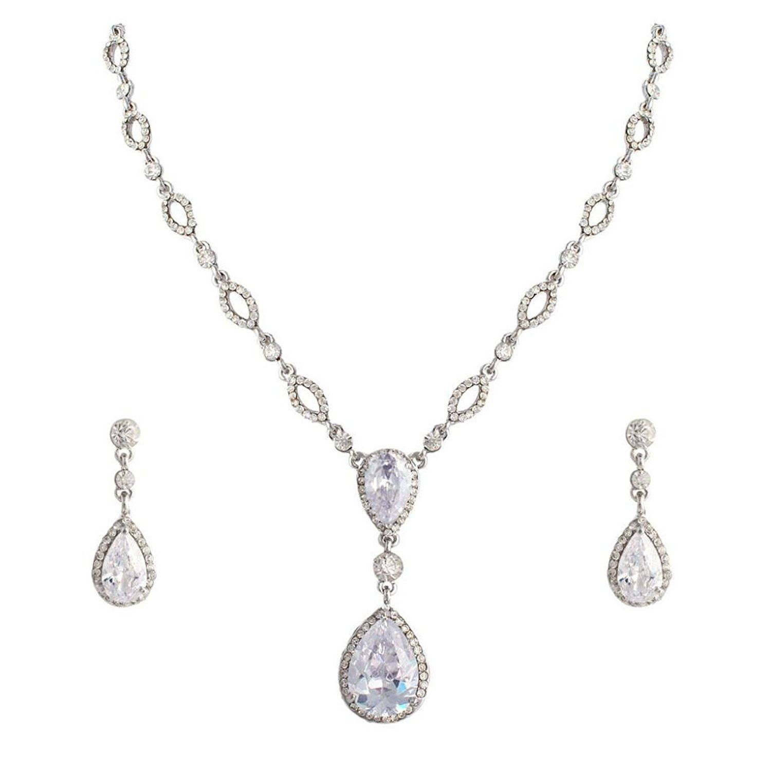 Ever faith bridal clear zircon crystal teardrop necklace earrings