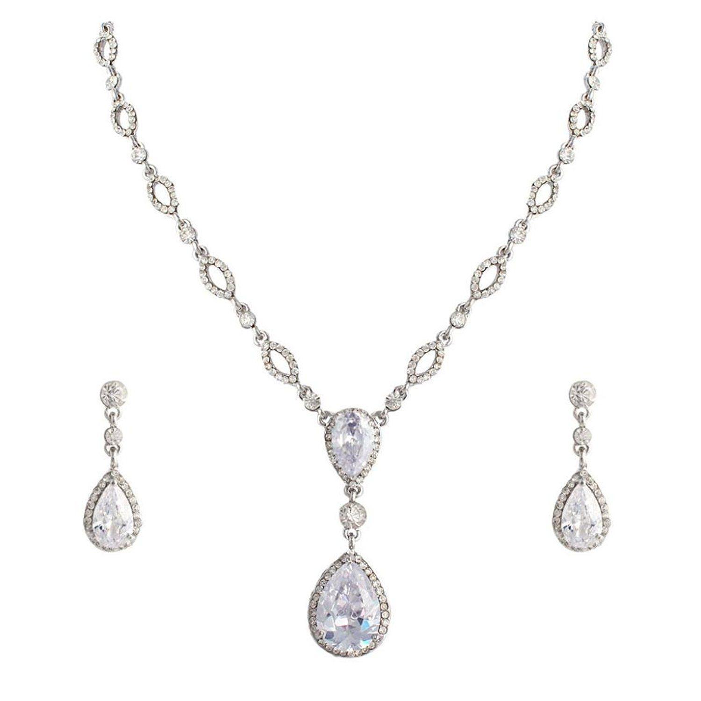 EVER FAITH Bridal Clear Zircon Crystal Teardrop Necklace Earrings