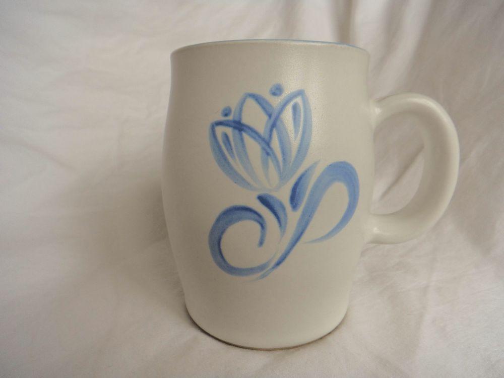 Denby Pride Mug White Blue Flower and Edge Albert Colledge Greenwheat  Made in E #Denby