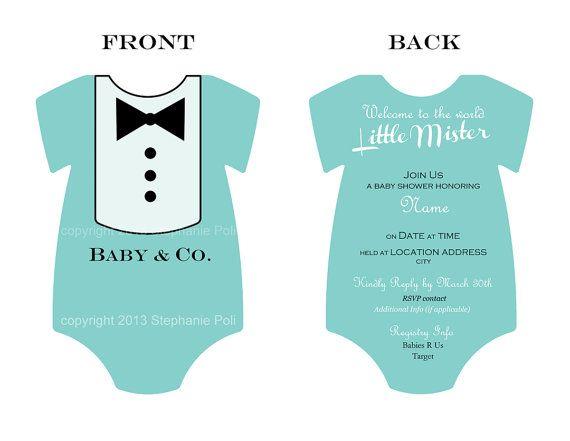 Baby And Co. Tuxedo Aqua Baby Shower Invitation (Digital Printable)