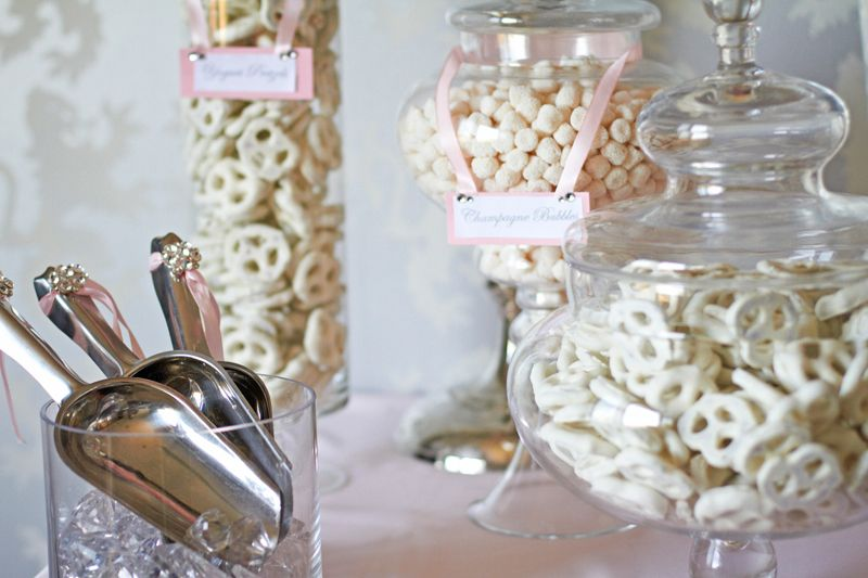 An Elegant Candy Bar Filled With Ivory And Pink I Love The Way Labels Are Placed Over Apothecary Jars As Well Scoops