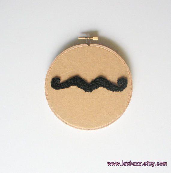 Crochet Mustache Hoop Art, small embroidery hoop wall art, ready to ...