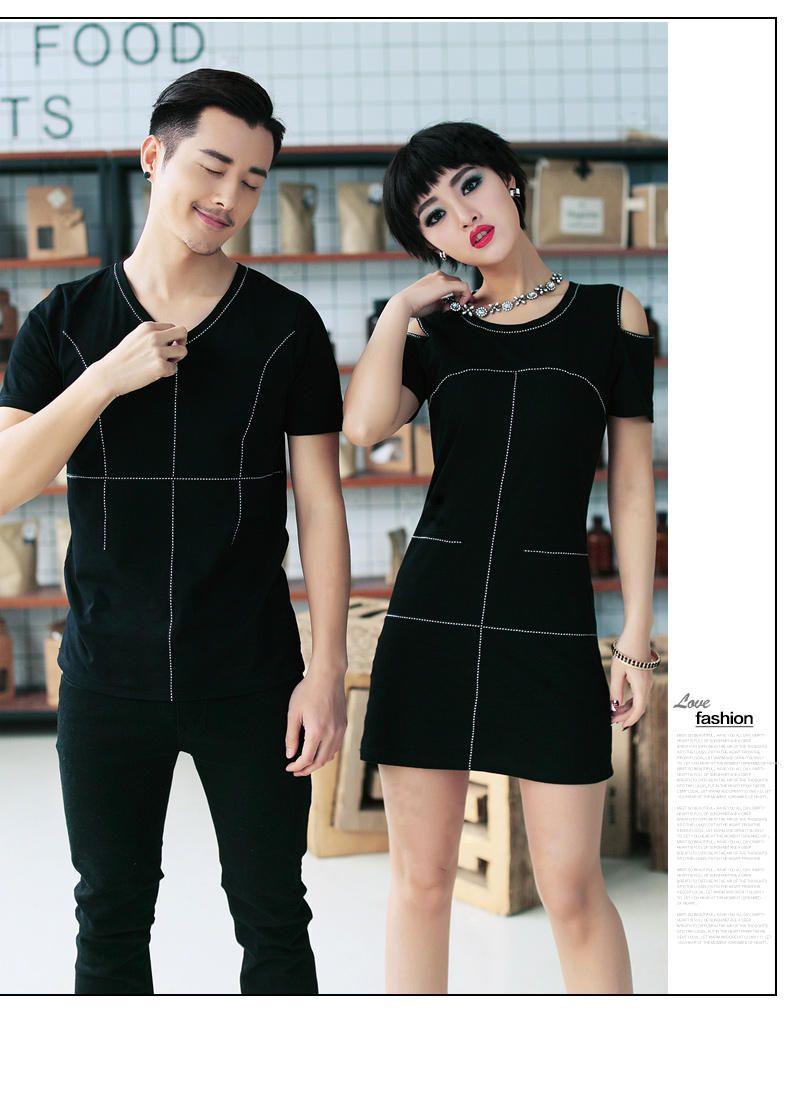 Couple Set: Contrast Trim T-Shirt / Cutout Shoulder T-Shirt Dress - LOVE KINGDOM | YESSTYLE