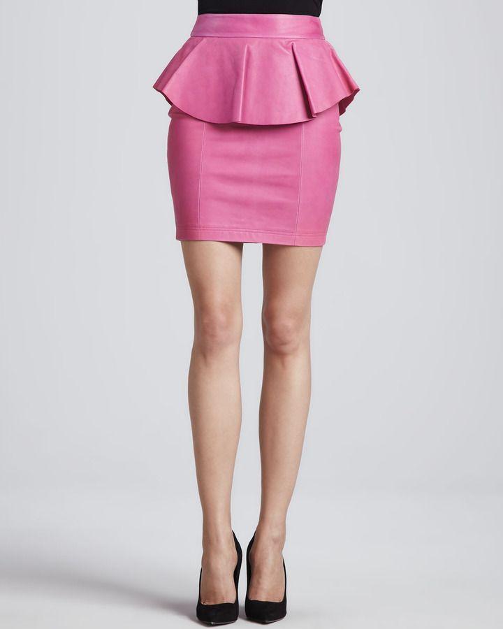 Torn by Ronny Kobo Gigi Leather Peplum Skirt, Pink | faldas kiut ...