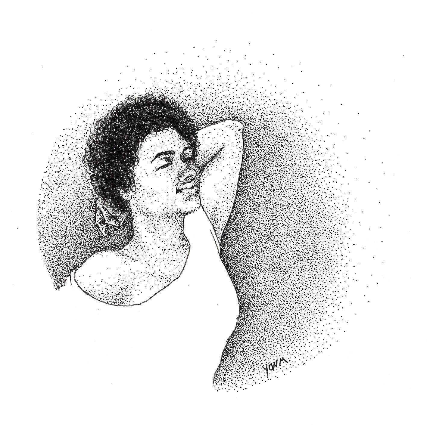 Melissa I - Ink dots portrait - Stippling / pointillism  © Yan Moussu  https://www.facebook.com/petitpoucetlagence