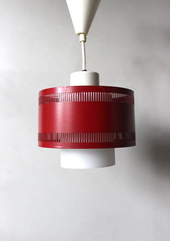 Vintage Hanging Lamp Ceiling Lamp Metal Lamp Shade Glass Red 70 S Vintage Ceiling Lamp Milk Glass Lamp Shades