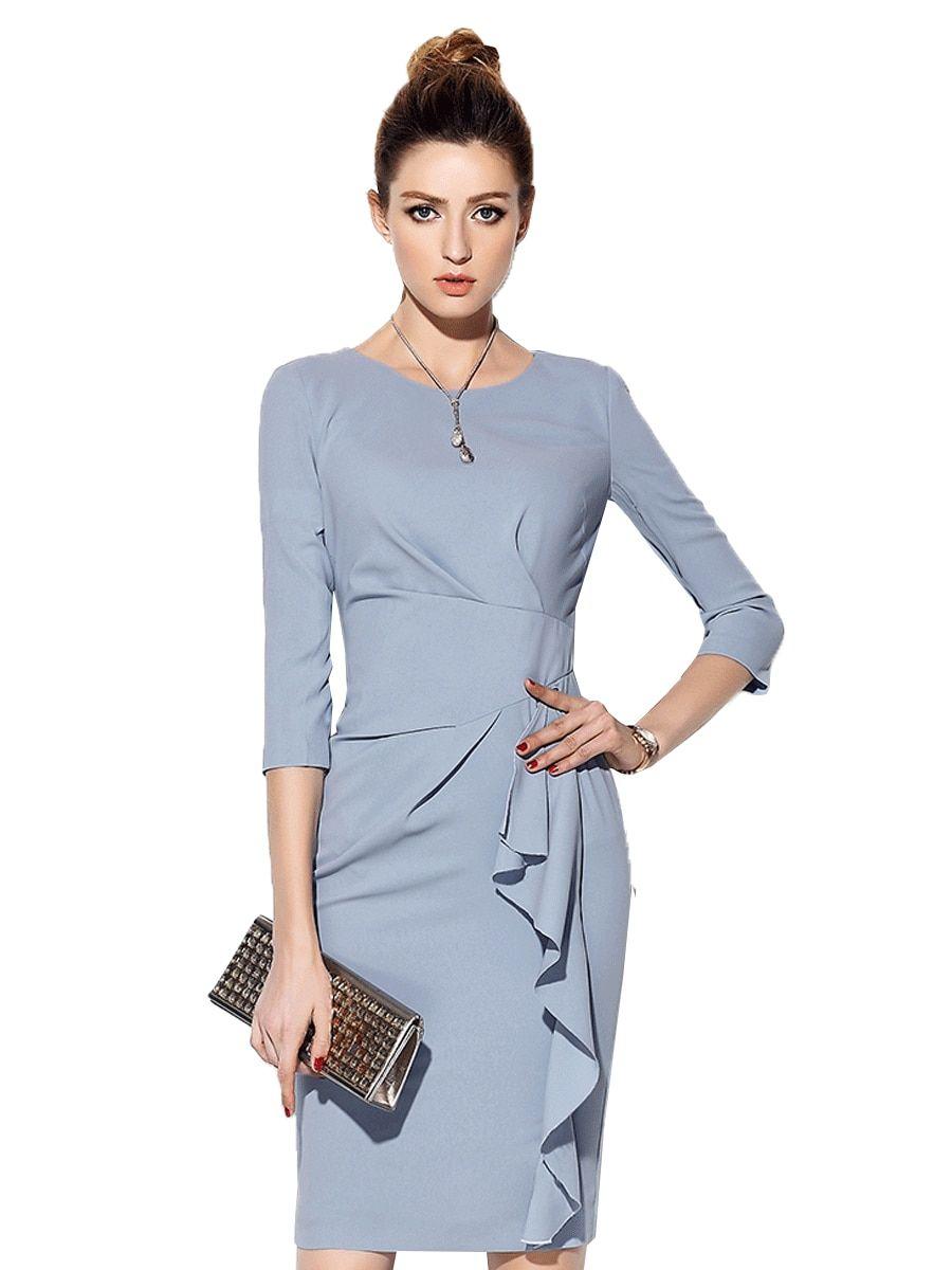 Buy Women s Dress Ruffles Patch Solid O Neck Midi Dress   Women s Dresses -  at Jolly 715022560
