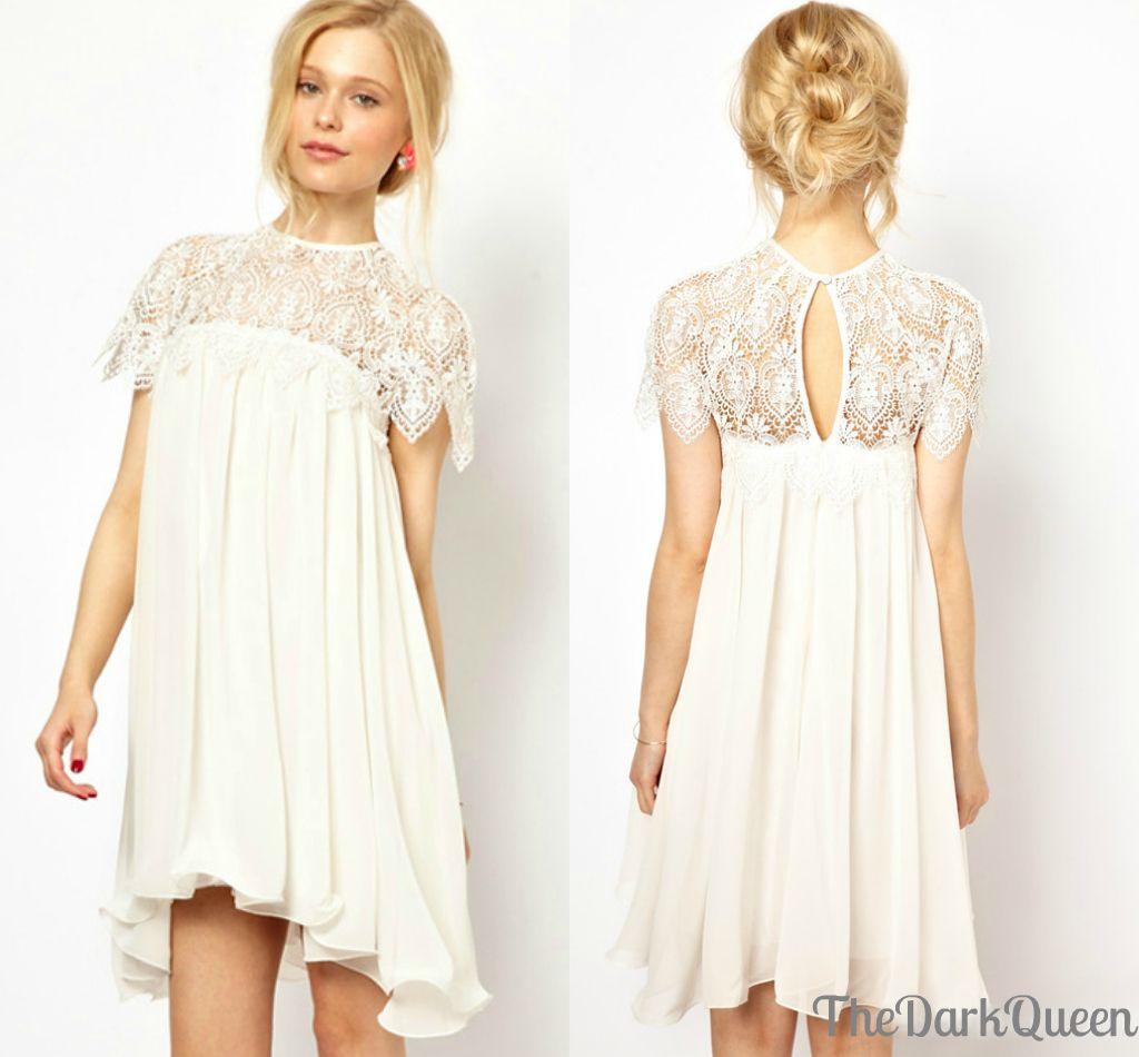 White wedding dress prom short mini casual summer boho hippie chic