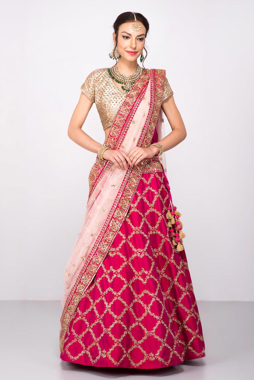 Rent NIYOOSH - Golden And Pink Jaal Embroidered Lehenga Set ...