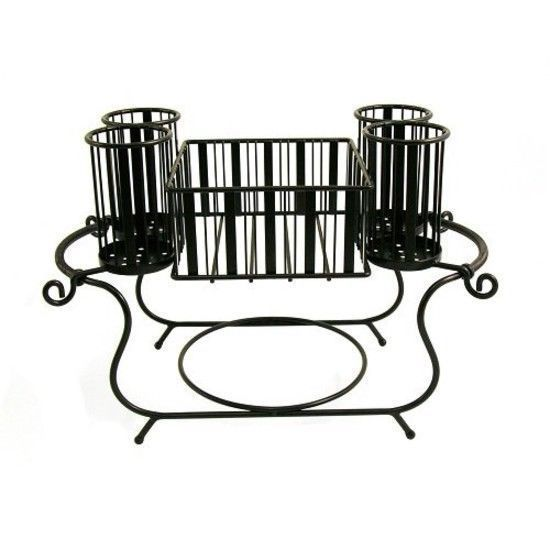 MESA Delaware Buffet Silverware Caddy Dinner Plate Holder Antiqued Black Finish //ift  sc 1 st  Pinterest & MESA Delaware Buffet Silverware Caddy Dinner Plate Holder Antiqued ...