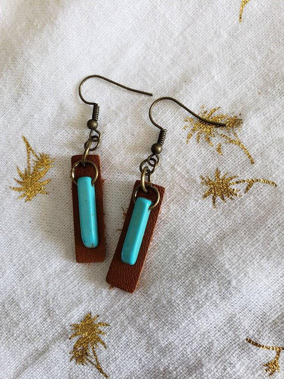 Photo of Leather earrings with turquoise. Cognac leather earrings. Leather earrings – leather earrings ….