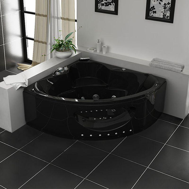 Shanghai black baignoire baln o d 39 angle whirlpool 32 jets for Salle de bain baignoire balneo