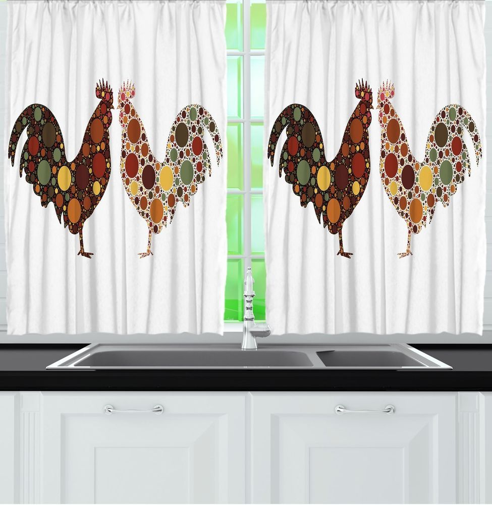 ROOSTER KITCHEN CURTAINS Set Chicken Country Farm Animal Decor ...