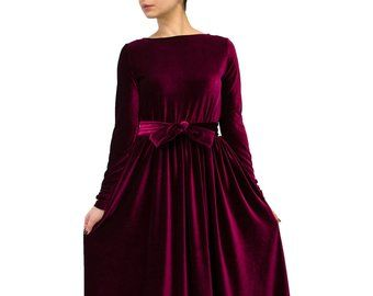 Grünem Samt Maxi-Kleid, plus Size bescheidenes Kleid ...