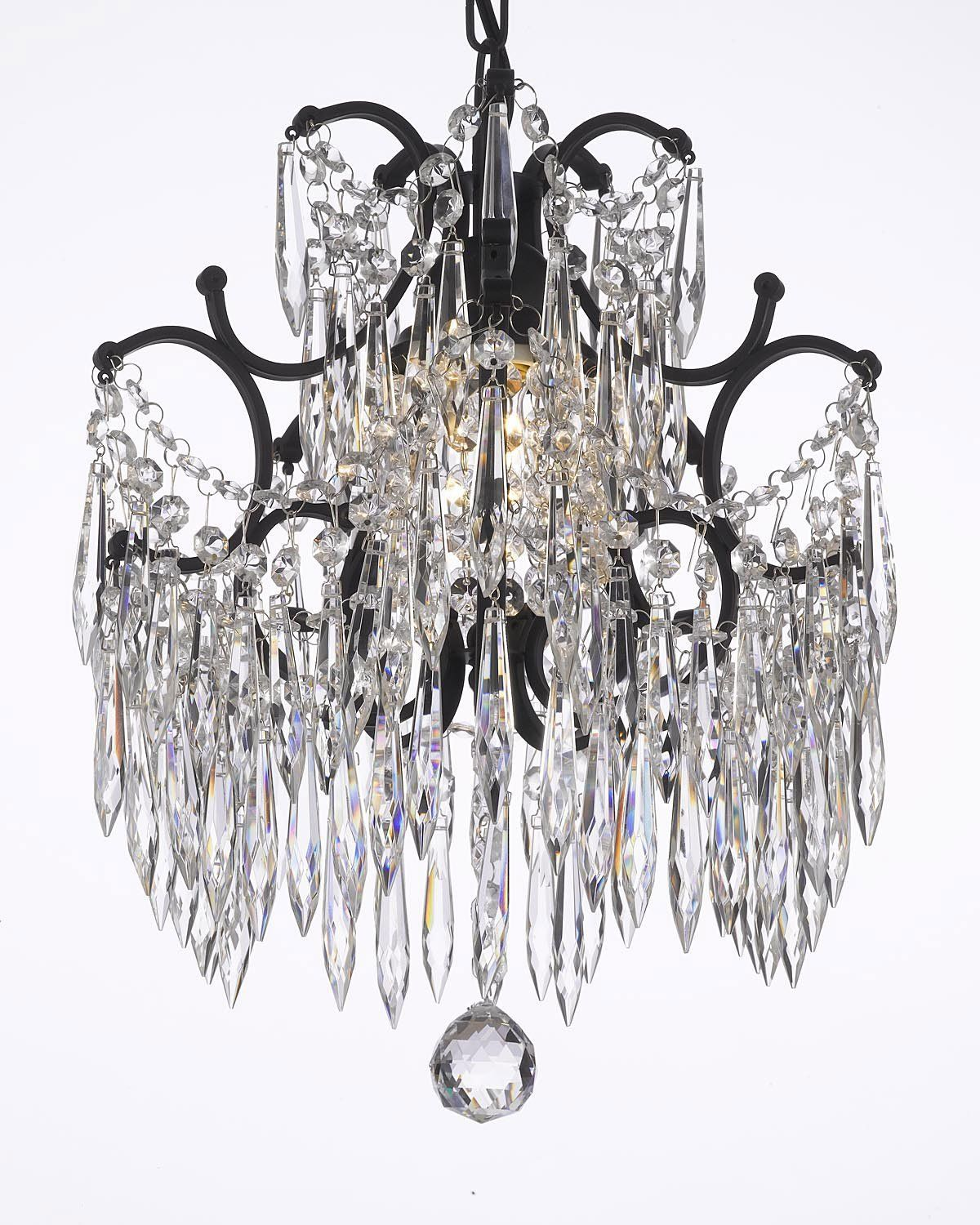 Chandelier Wrought Iron Crystal Chandeliers Dressed With Icicle Crystals H14 W11 Amazon Co Crystal Chandelier Geometric Pendant Wrought Iron Chandeliers