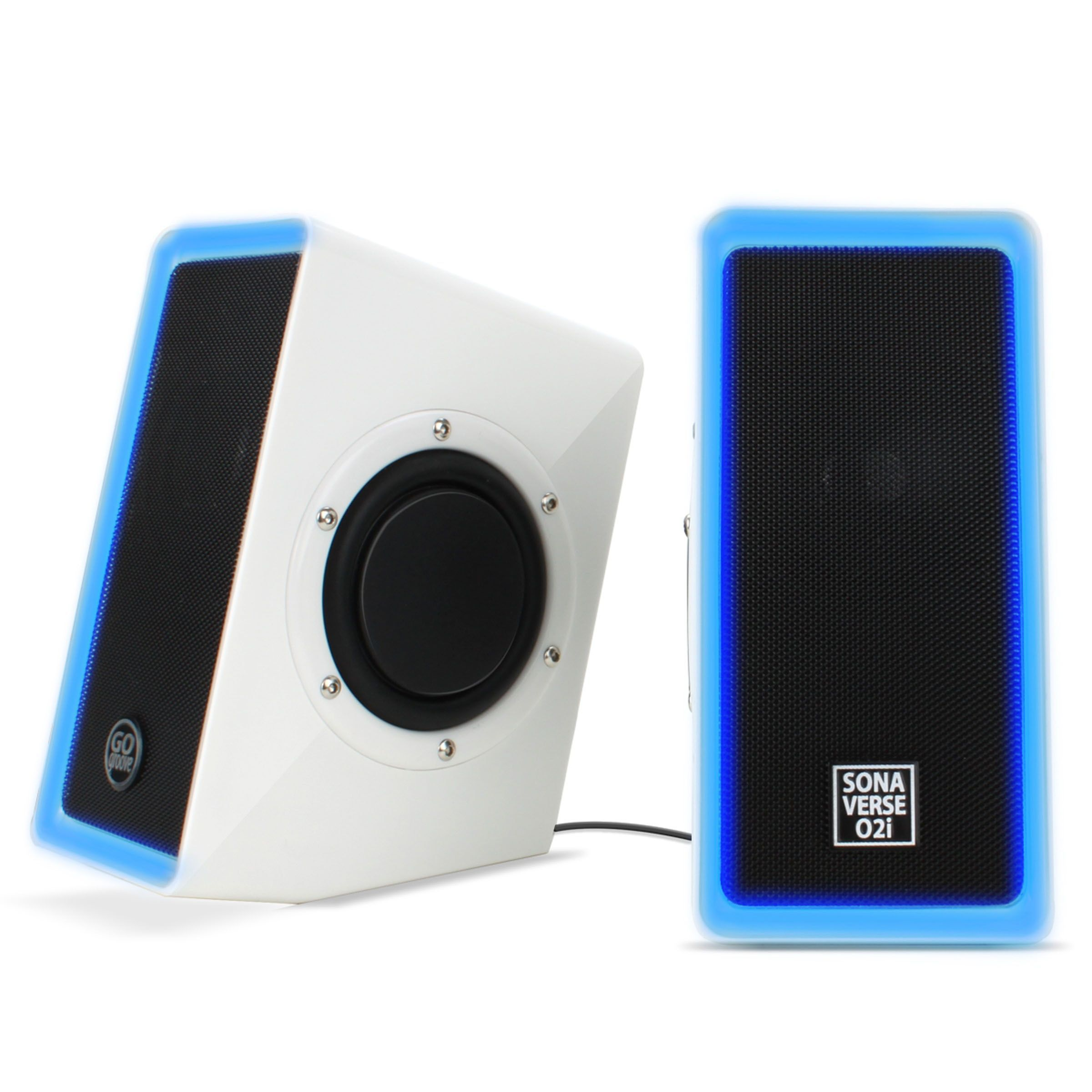 GOgroove O2i USB Multimedia Computer Speakers with Dual Drivers for Gaming Computers, #GGSVO2I100WTEW