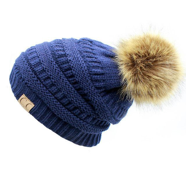 81868d0aab0 2017 hot Double layer fur ball cap pom poms winter hat for women girls hat  knitted beanies cap thick female cap