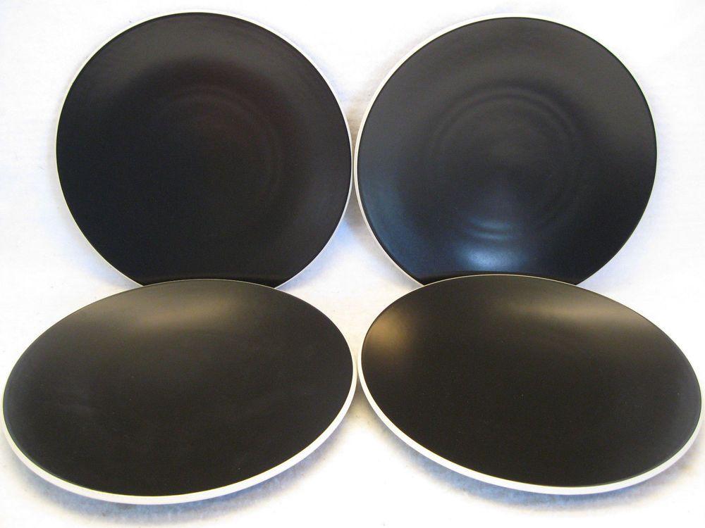 Sasaki Colorstone Matte Black Vignelli Designs 10 3/4\  Dinner Plates Japan. & Sasaki Colorstone Matte Black Vignelli Designs 10 3/4\