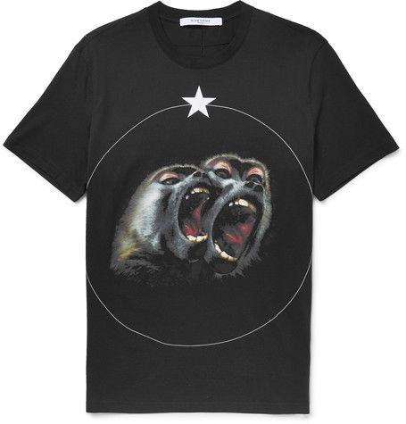 GIVENCHY Cuban-Fit Printed Cotton-Jersey T-Shirt. #givenchy #cloth #t-shirts