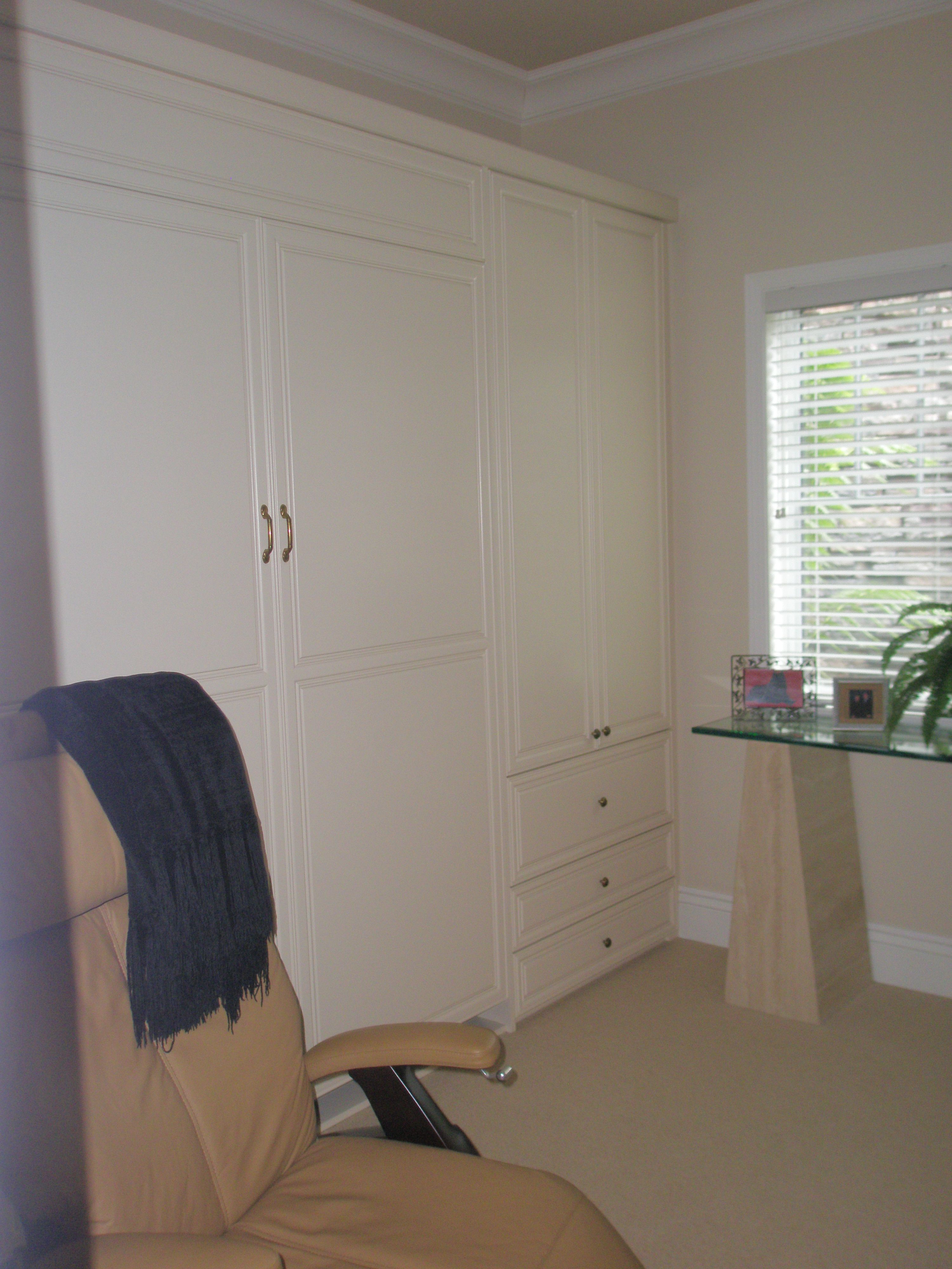 Guest Room Wall Unit With Wall Bed In Custom White Paint Wall