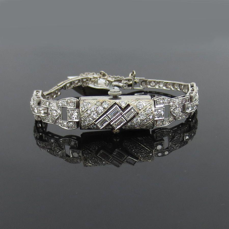 Art Deco 4.22ct Diamond & 14K White Gold Flip Top Lady's Watch