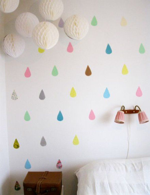 Kinderzimmer Deko Selber Machen Regen Bunte Regentropfen