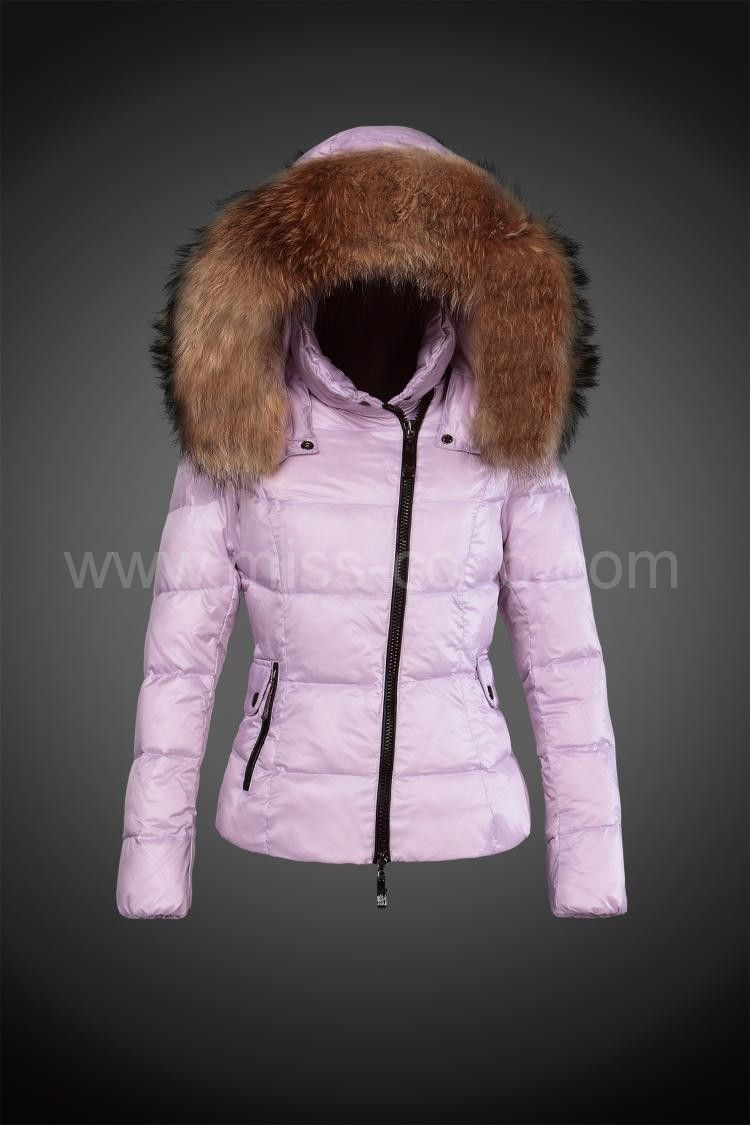 $289, Pink Short Moncler Jacket for Women with Oblique Zipper and Fur Cap 2015 #Jacket #Moncler #Outlet