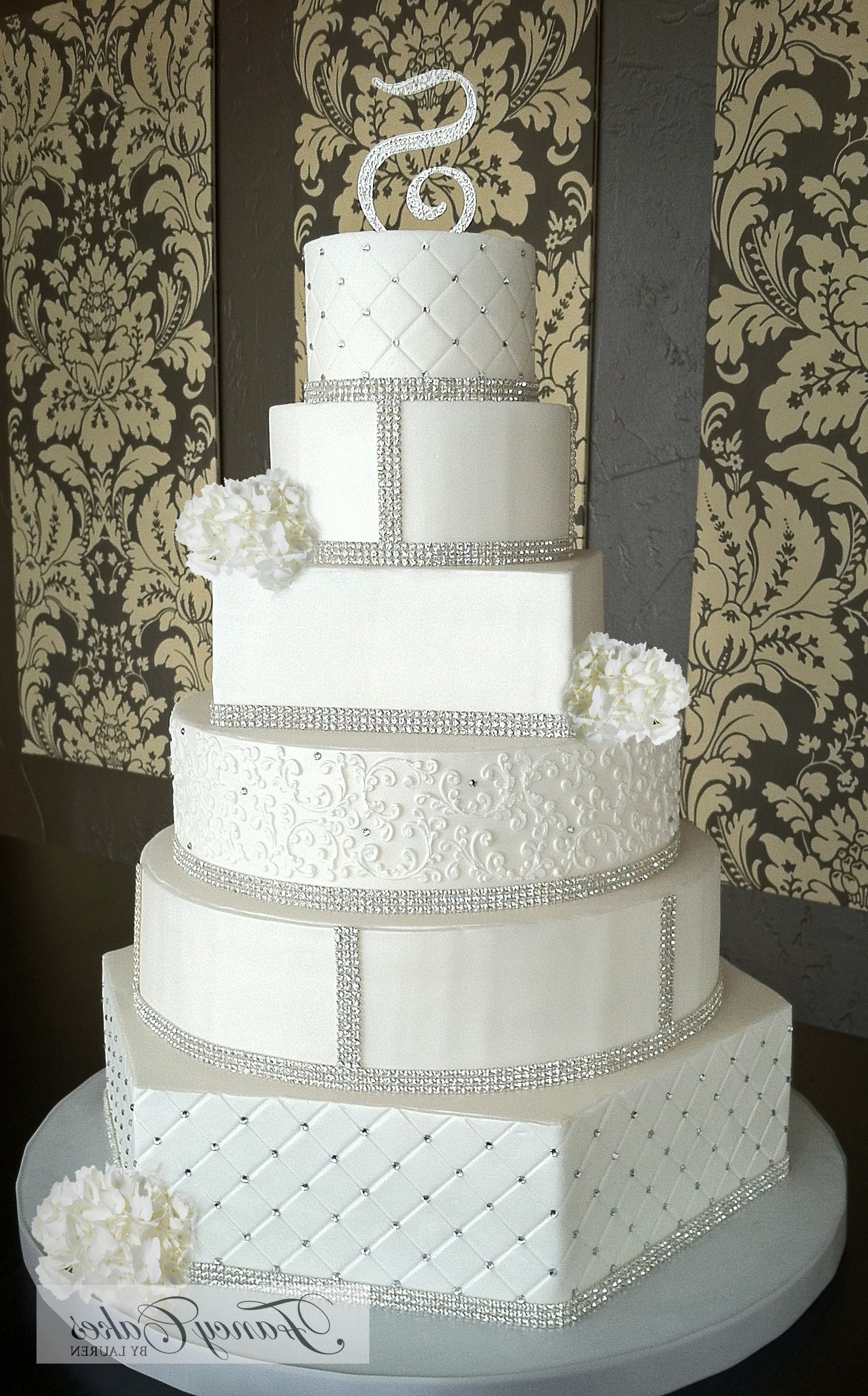 White Wedding Cakes With Crystals