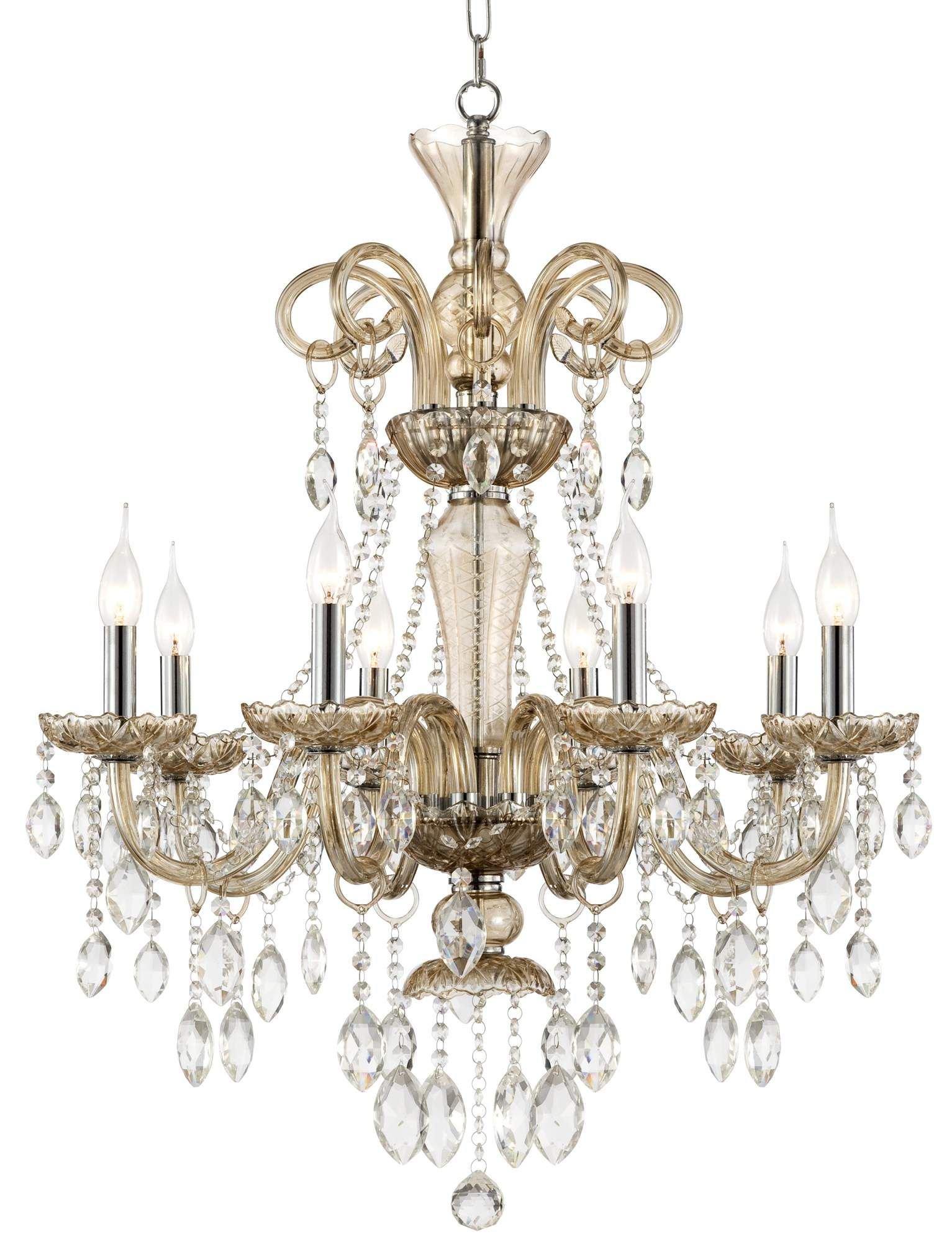 """Traditional 28"""" Wide 8 Light Crystal Chandelier"""