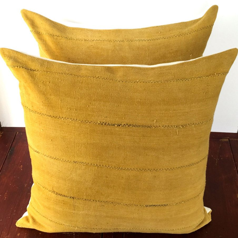One Boho Pillow Cover African Mudcloth Mustard Yellow Euro Sham 26x26 Inches Handwoven Fabric 10 Donations To Global Fund For Women By Bohorapsodia On
