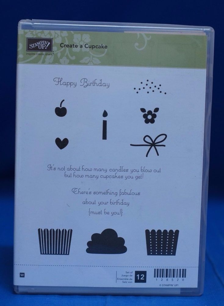 Stampin' Up Create a Cupcake  Birthday Set of 12 Stamps NIB #StampinUp