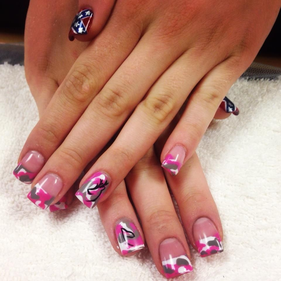 Browning Sign Rebel Flag Awesome pink camo nail...