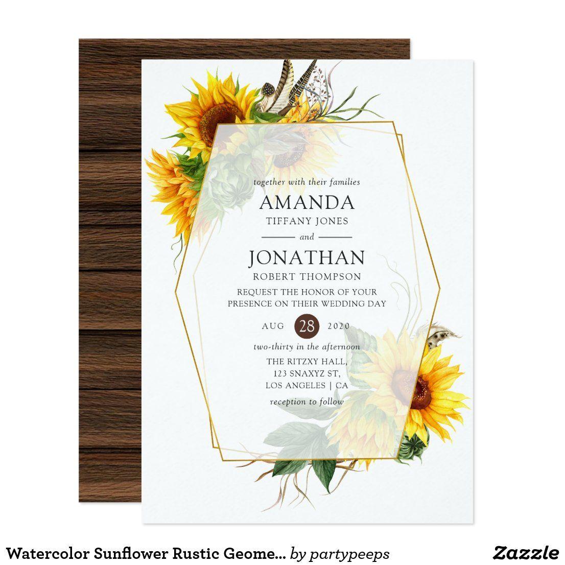 Watercolor Sunflower Rustic Geometric Wedding Invitation
