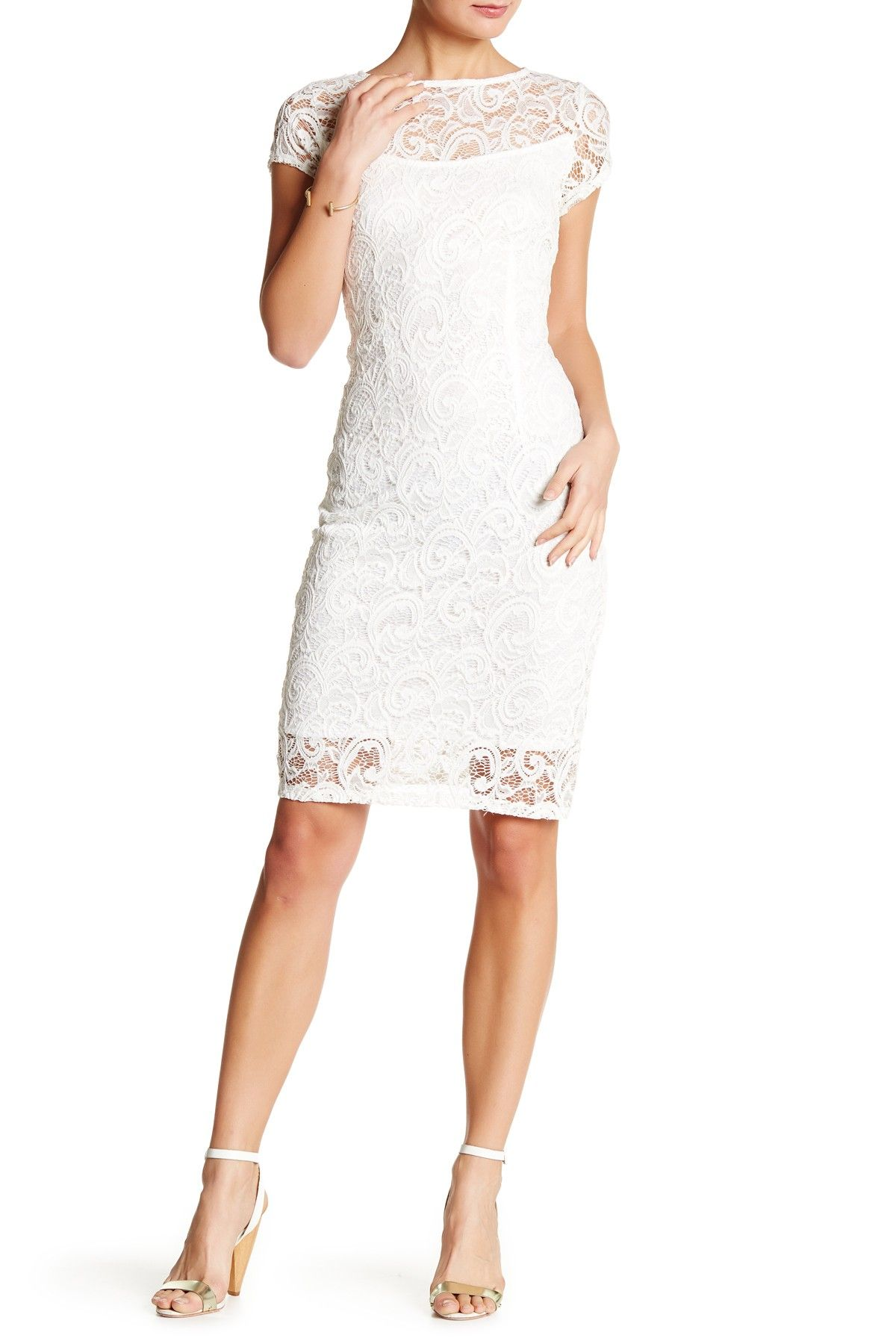 fa654719103 Cap Sleeve Lace Sequin Midi Dress by Marina on  nordstrom rack