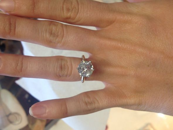 3.12 carat solitare on a 4.5 size finger Read more: http://boards