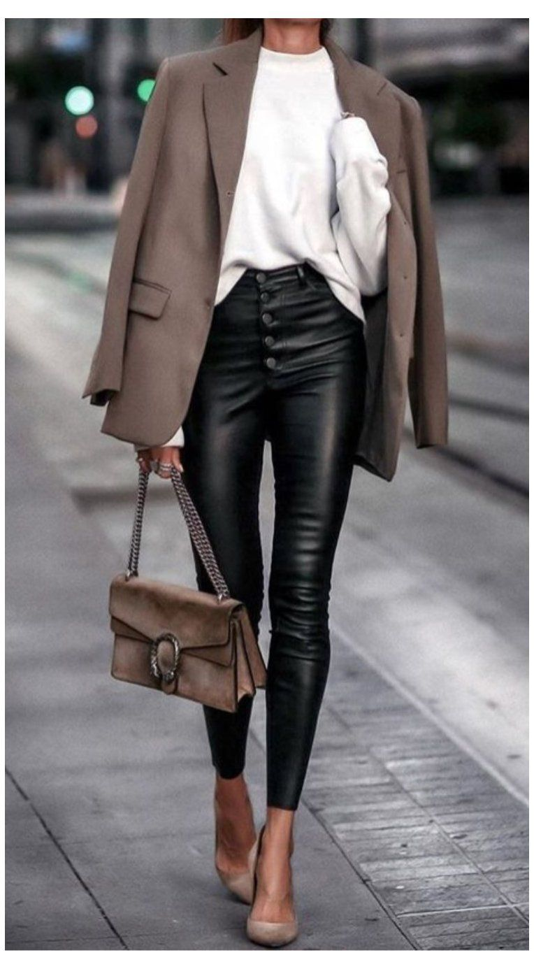 black #leather #pants #outfit #nye Classic taupe blazer over white sweater  and black leathe… | Leather pants outfit, Leather trousers outfit, Outfits  with leggings