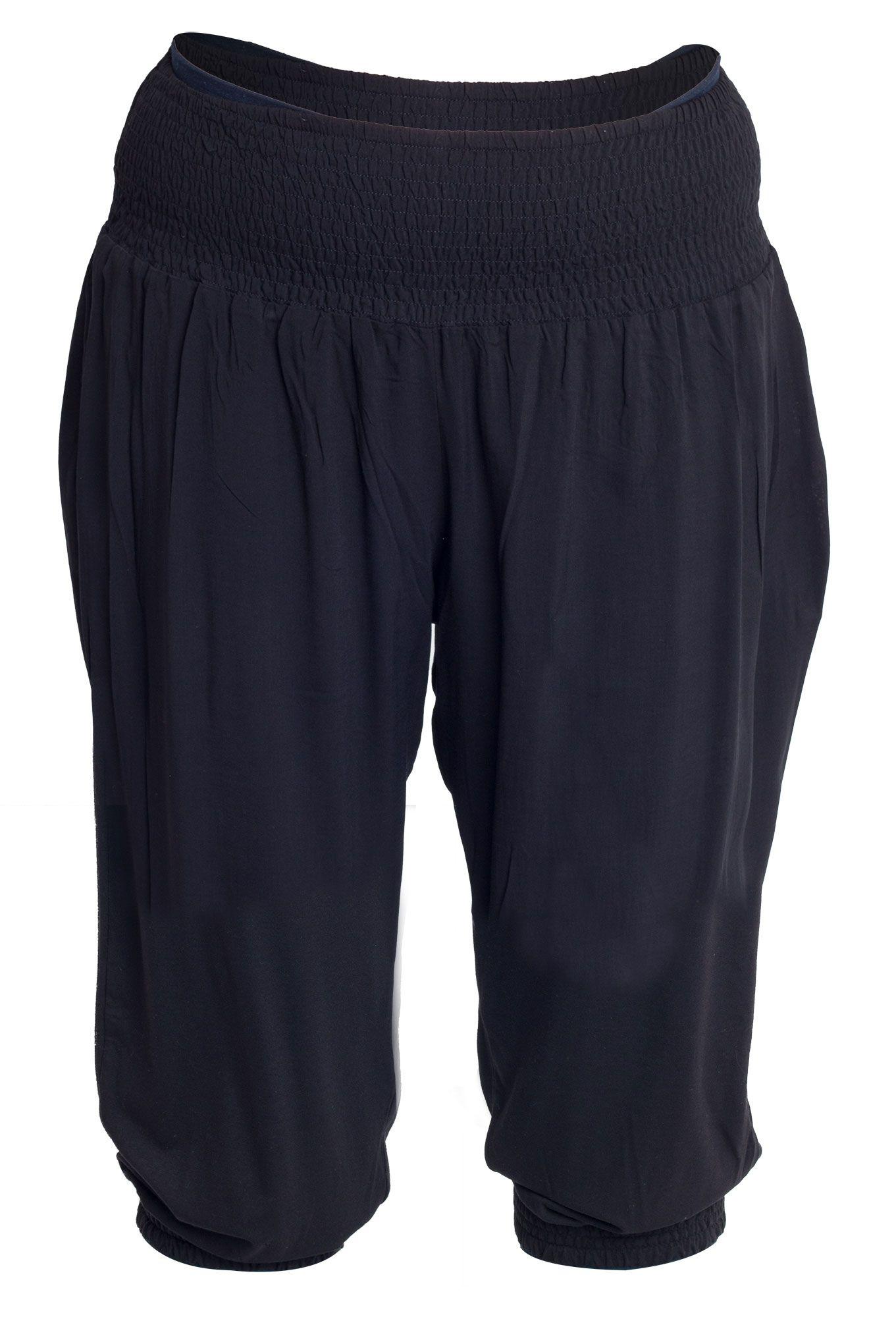 Super fede Sorte løse 3/4 bukser med smock elastik Studio Modetøj til Damer til hverdag og til fest