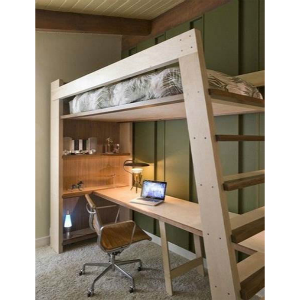 Xo Solid Wood Loft Bed With Bookcase And Angle Ladder In