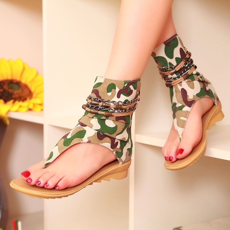 Sexy Women Summer Beautiful Sandals Flats Ankle Boot Flip Flops Camouflage  US8 5 | eBay