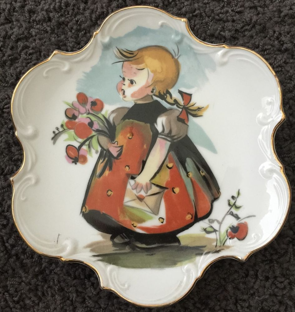 Vintage Norcrest Fine China Hand Painted Decorative Plate Girl w/Flowers Wall & Vintage Norcrest Fine China Hand Painted Decorative Plate Girl w ...