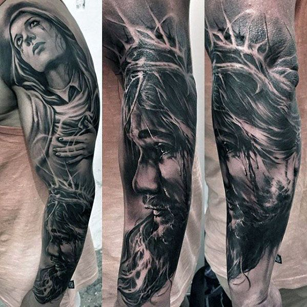 Masculine guys full arm jesus sleeve tattoo tattoo ideas for Jesus tattoos on arm