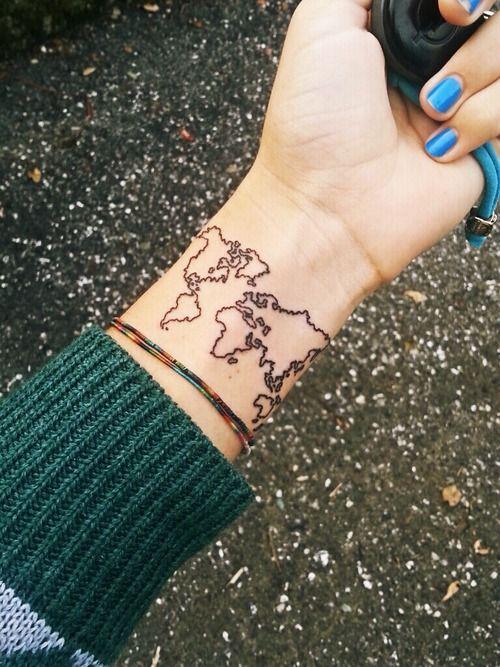 World Map Tattoo | Tattoos | Pinterest | Map tattoos, Tattoo and Tatting