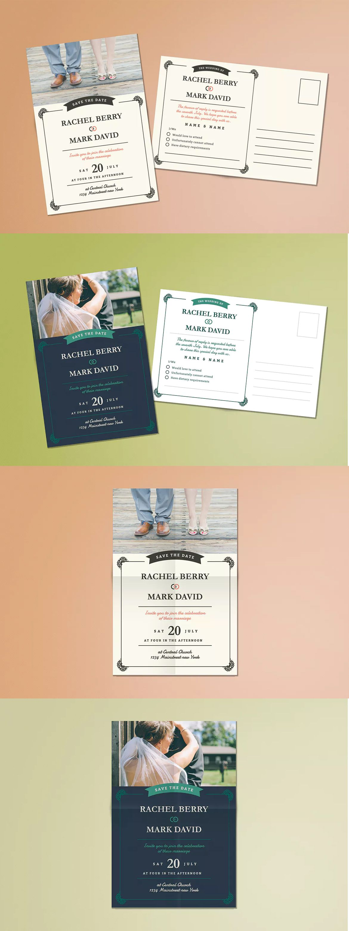 Elegant Wedding Postcard Invitation Template Ai Psd  Wedding