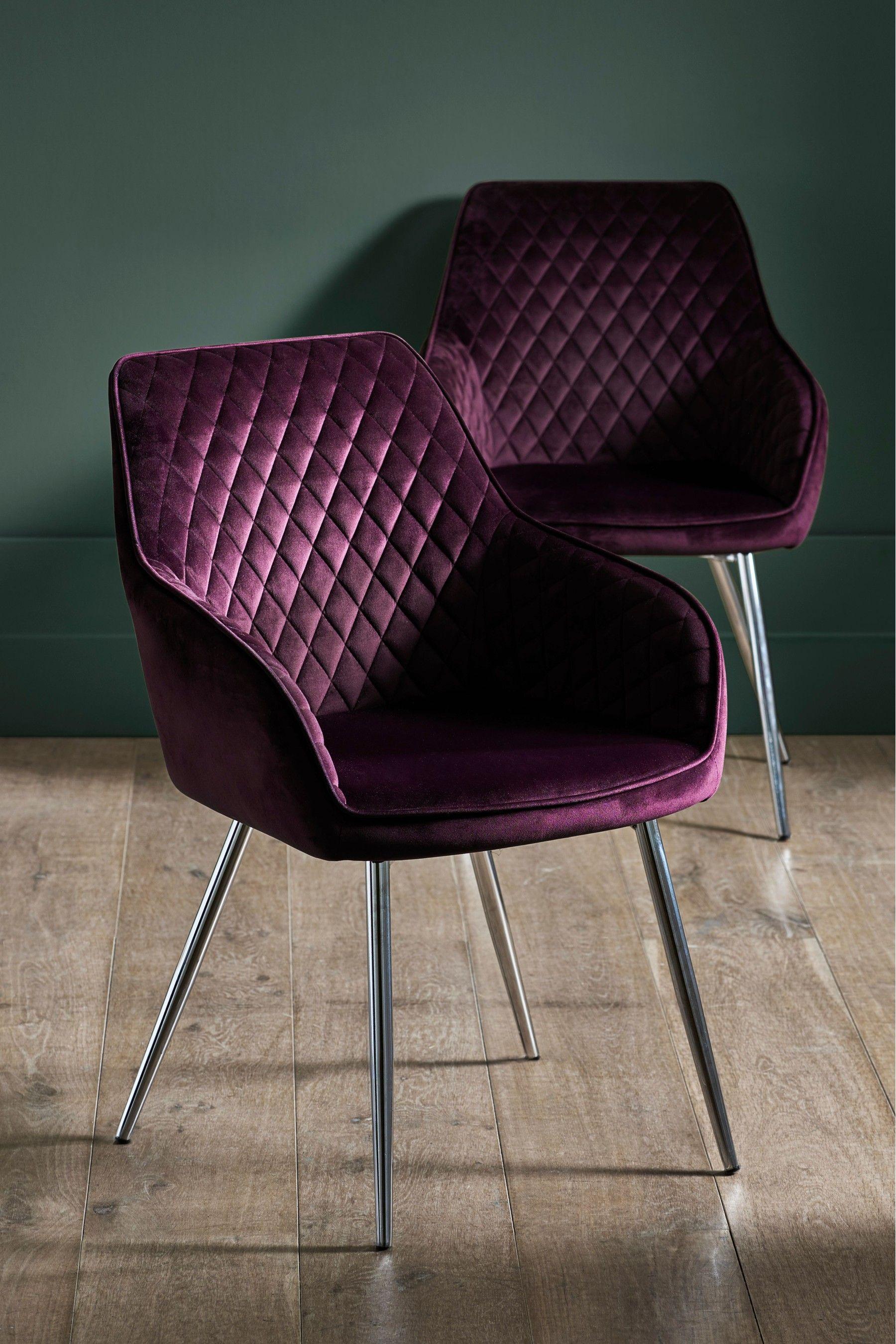 Next Set Of 2 Hamilton Arm Dining Chairs Purple Purple Dining
