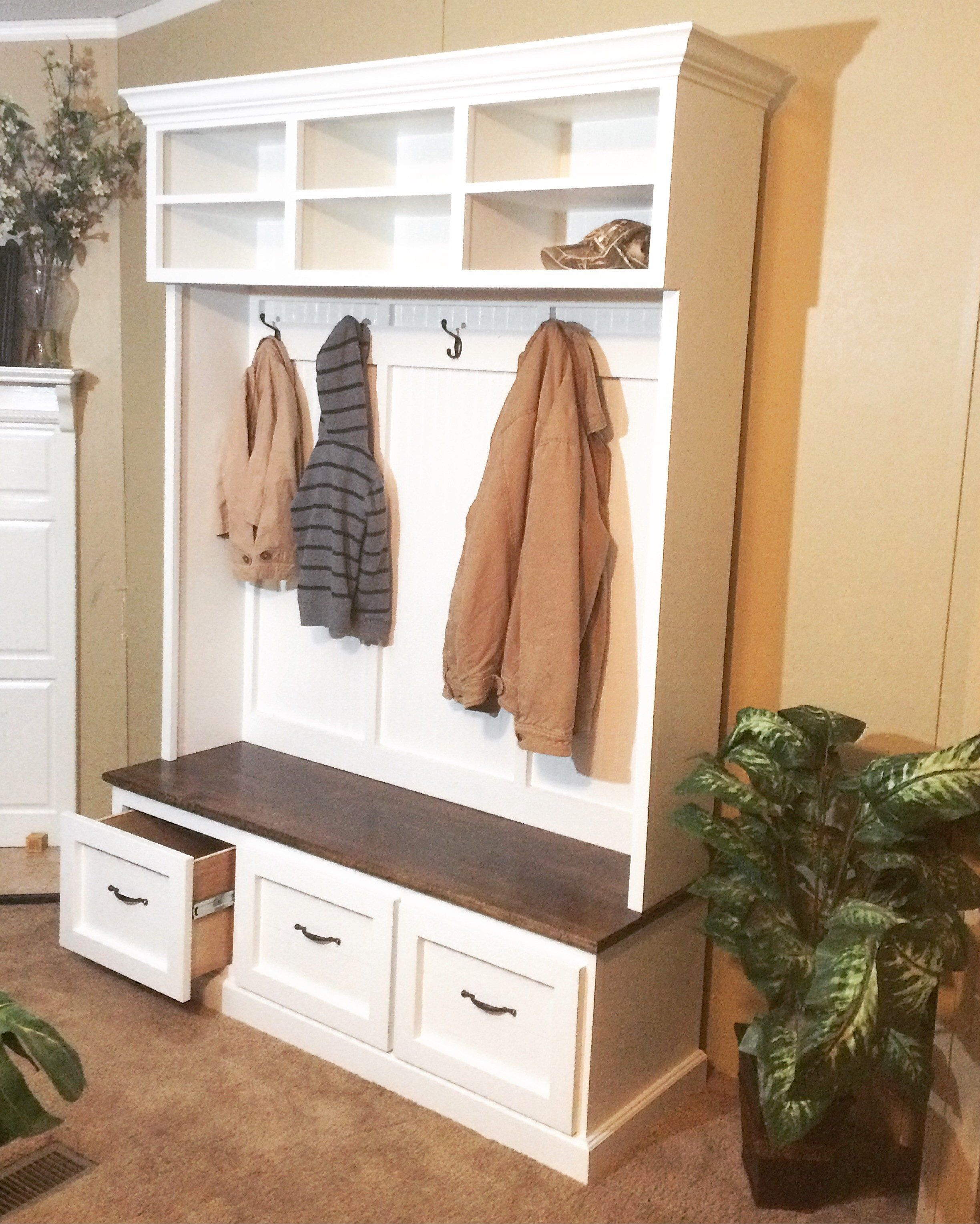 bench with shoe storage, coat rack and storage compartments/hall ...