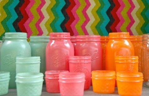 mason, jar, jars, glass, colored, pink, blue, orange, DIY, craft, crafts