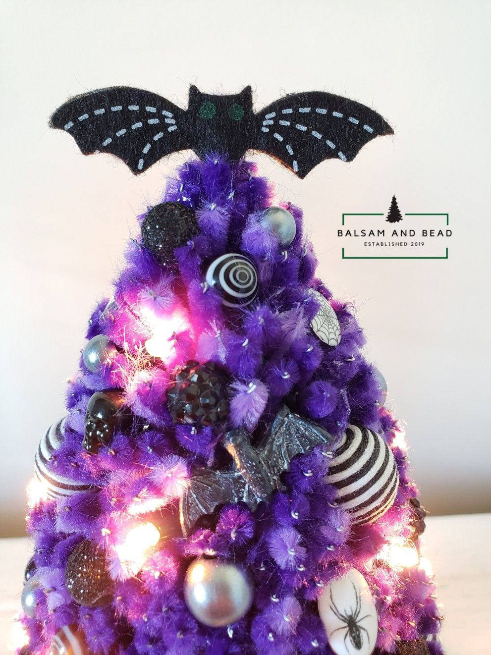 Miniature handmade purple chenille Christmas tree