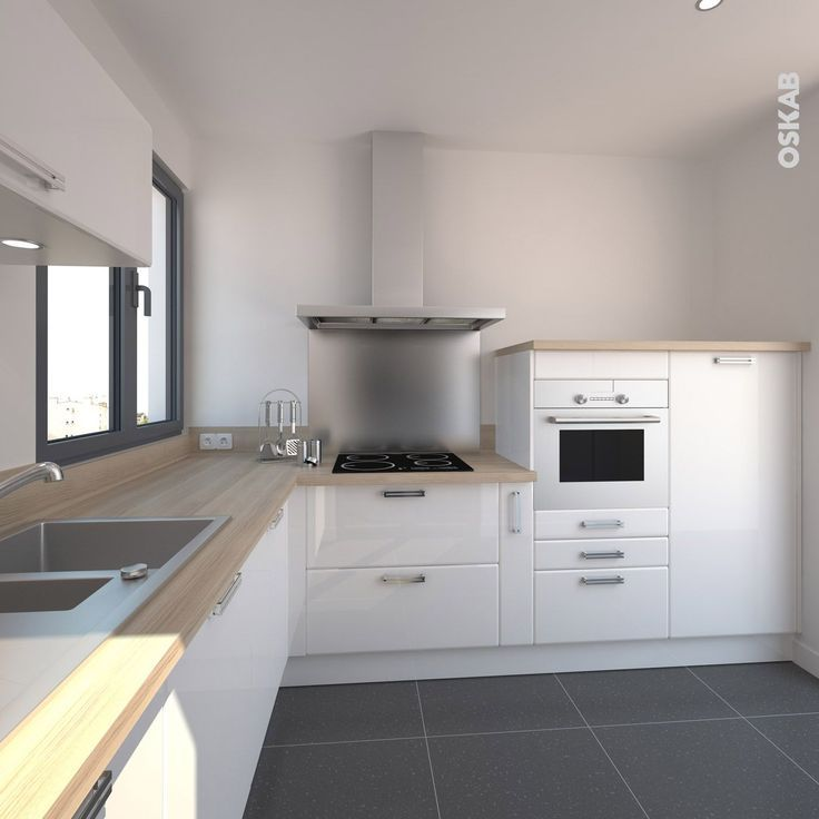 Idée relooking cuisine – Cuisine design blanche brillante style ...
