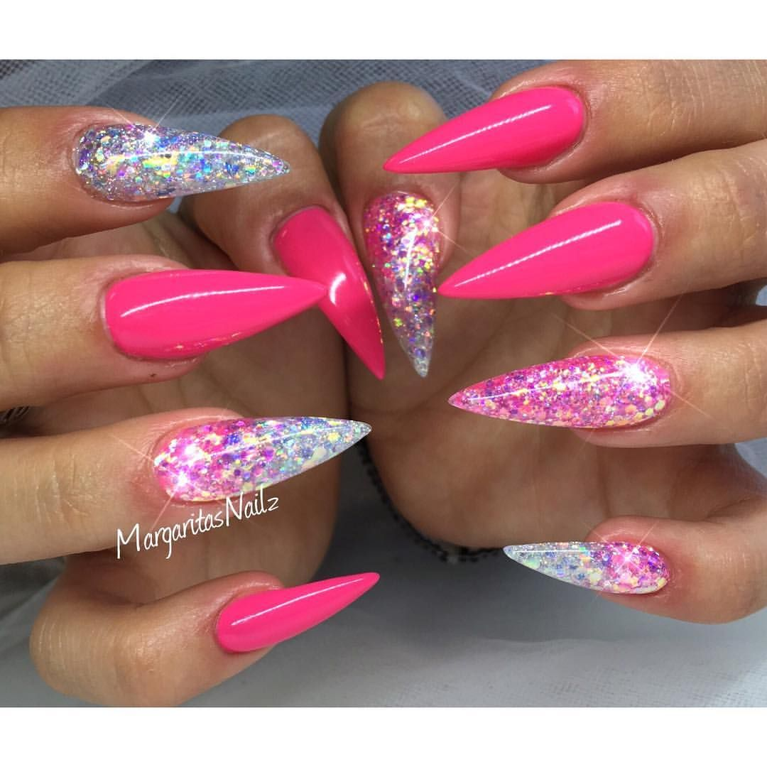 Pink And Glitter Ombre Stiletto Nails Summer Nail Design With
