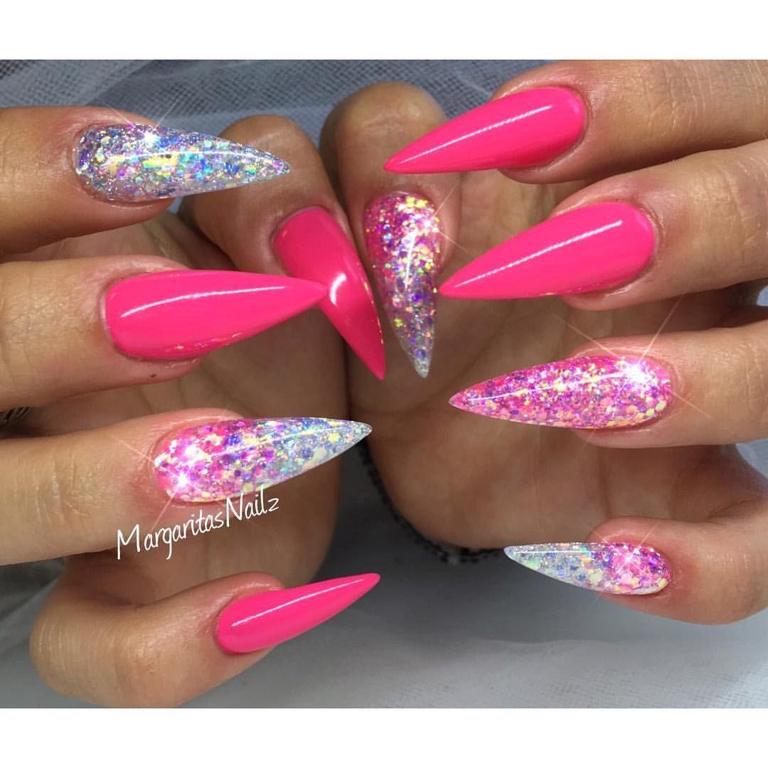 Instagram Photo By Margaritasnailz Jun 17 2016 At 1 51pm Utc Pink Glitter Nails Pink Stiletto Nails Pink Nails